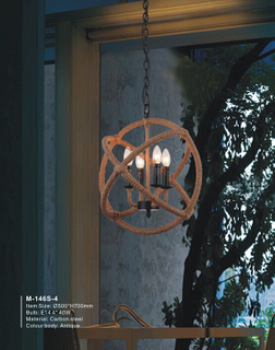 Cozy hemp rope circle shape antique pendant light (M-031S-4)