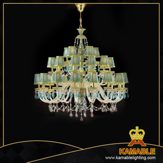 Luxury style brass with green crystal chandelier (MD0905-30)