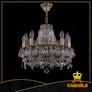 Modern atmospheric transparent brass crystal chandelier(1707-14-125 CFP)