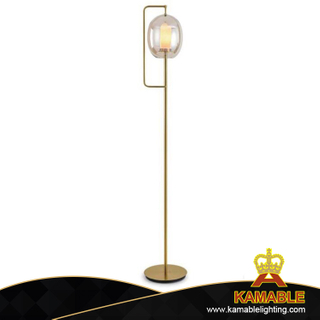 Amber Glass Shade Livingroom Iron Floor Light (KA9939F/gold)