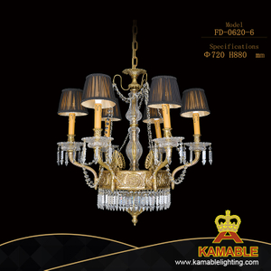 Villa Calassical Antique Brystal Brass Plated Chandelier Lamp (FD-0620-6)